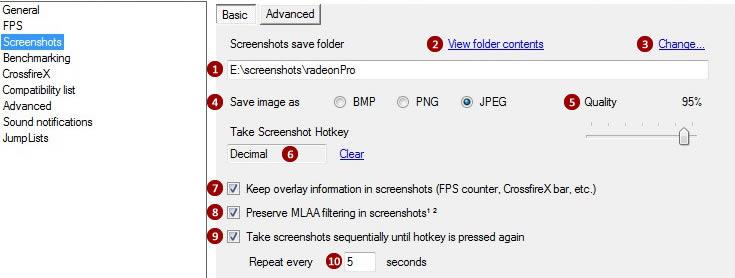 Settings: Screenshots   RadeonPro User's Guide